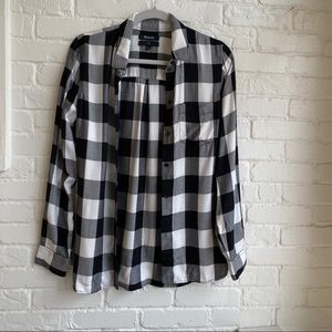 Madewell Black & White Flannel Sz Small